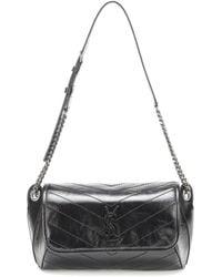 Saint Laurent Niki Crinkled-leather Belt Bag - Black