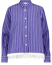 Sacai Gestreiftes Hemd aus Baumwolle - Lila