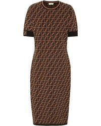 Fendi Stretch-knit Midi Dress - Brown
