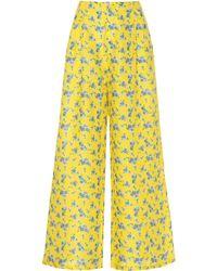 Gül Hürgel Floral Linen Wide-leg Pants - Yellow