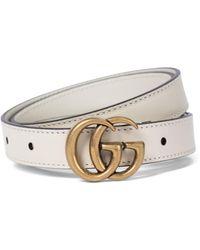 Gucci Cinturón GG de piel - Blanco