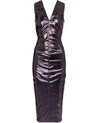 Rick Owens Coated Cotton Midi Dress - Purple