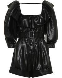 Self-Portrait Faux Leather Playsuit - Black