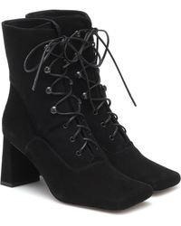 BY FAR Claude Lace-up Suede Ankle Boots - Black