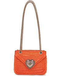 Dolce & Gabbana Devotion Small Raffia Shoulder Bag - Orange