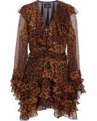 Etro Vestido de seda con motivo paisley - Marrón