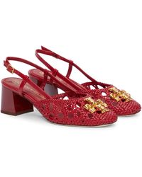 Tory Burch Eleanor Woven Leather Slingback Pumps - Red