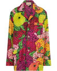 Gucci X Ken Scott camisa de seda floral - Rosa