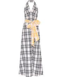 Rosie Assoulin - Checked Cotton Halter Dress - Lyst