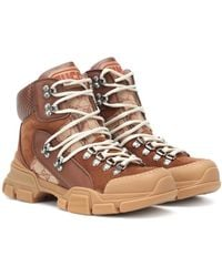 Gucci Flashtrek Gg Suede High Top Sneakers - Brown