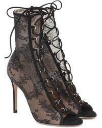 Gianvito Rossi Stevie Open-toe Lace Ankle Boots - Black