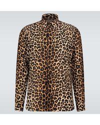 Saint Laurent Camisa con estampado de leopardo - Marrón