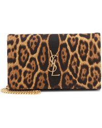 Saint Laurent Kate Leopard-print Clutch - Brown