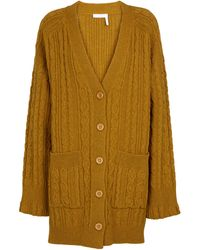 See By Chloé - Cable-knit Wool-blend Cardigan - Lyst