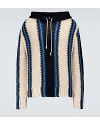 Jil Sander Gestreifter Pullover aus Baumwolle - Blau