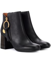 See By Chloé Leather Ankle Boots - Black