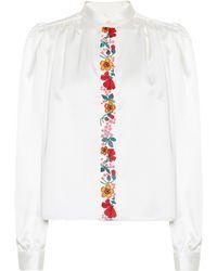 ALEXACHUNG Floral Detail Shirt - White