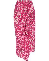 Isabel Marant Bree Printed Stretch-silk Midi Skirt - Pink