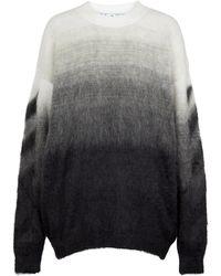 Off-White c/o Virgil Abloh Ombré Mohair-blend Knit Jumper - Grey