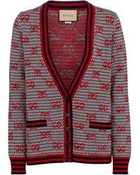 Gucci Cardigan GG aus Woll-Jacquard - Rot