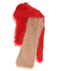 Dries Van Noten Feather-trimmed Scarf - Red