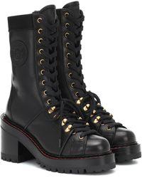 Versace V-alpine Leather Ankle Boots - Black