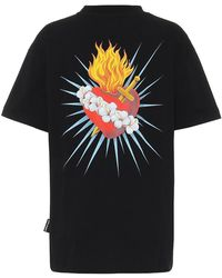 Palm Angels T-shirt in cotone Sacred Heart - Nero