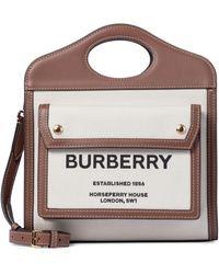 Burberry Cabas Pocket Mini en toile et cuir - Neutre