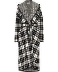 Balenciaga Check And Houndstooth Double-face Wool-blend Coat - Black