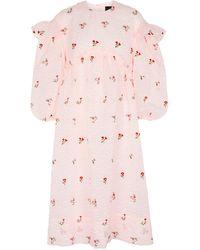 Simone Rocha Vestido cloqué con bordados florales - Rosa