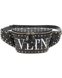 Valentino Garavani Rockstud Spike Vltn Leather Belt Bag - Black