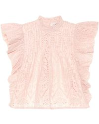 Ganni Top in cotone sangallo - Rosa