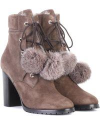 Jimmy Choo Elba 95 Fur-lined Suede Boots - Multicolor