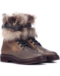 Brunello Cucinelli - Fur-trimmed Ankle Boots - Lyst