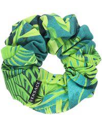 Versace Jungle-print Scrunchie - Blue