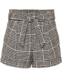 Veronica Beard Belted Check Cotton Shorts - Black