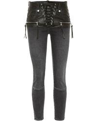 Unravel Project - Jeans con detalles de piel - Lyst