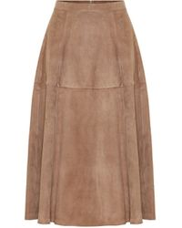 Max Mara Onore High-rise Suede Midi Skirt - Brown