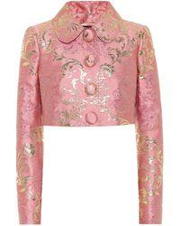 Dolce & Gabbana Brocade Cropped Jacket - Pink