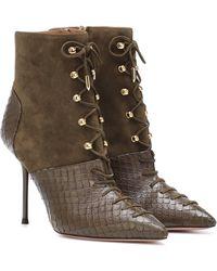 Aquazzura Berlin 95 Leather Ankle Boots - Green