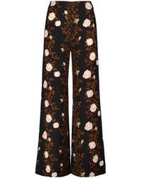 Emilia Wickstead Pantalones Hullinie de crepé florales - Marrón
