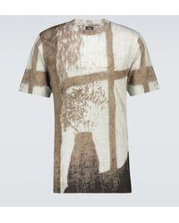 Fendi Bedrucktes T-Shirt aus Leinen - Braun