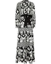 Diane von Furstenberg Vestido de algodón de manga larga - Negro