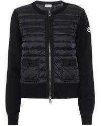 Moncler Cardigan in lana con imbottitura - Nero