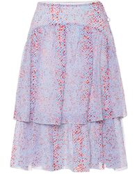 See By Chloé Printed Cotton And Silk Midi Skirt - Purple
