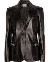 Gucci Leather Blazer - Black
