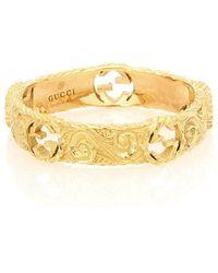 Gucci Interlocking G 18kt Gold Ring - Metallic