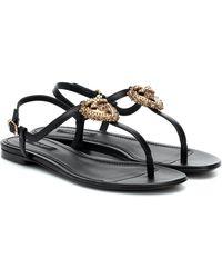 Dolce & Gabbana Sandalen Devotion aus Leder - Schwarz