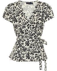 Polo Ralph Lauren Floral Linen Wrap Top - Black
