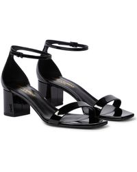 Saint Laurent Loulou 50 Patent Leather Sandals - Black